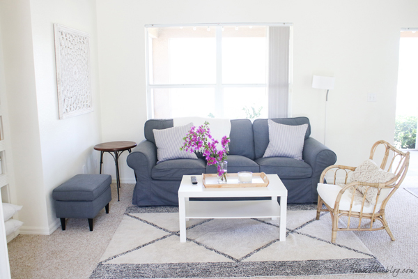 Gray and white living room tour