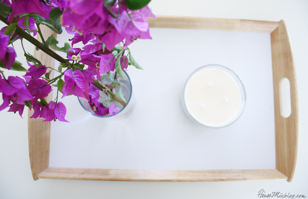 Ikea tray, candle and flowers for simple coffee table styling