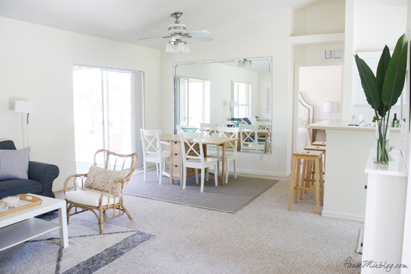 White combined living and dining space