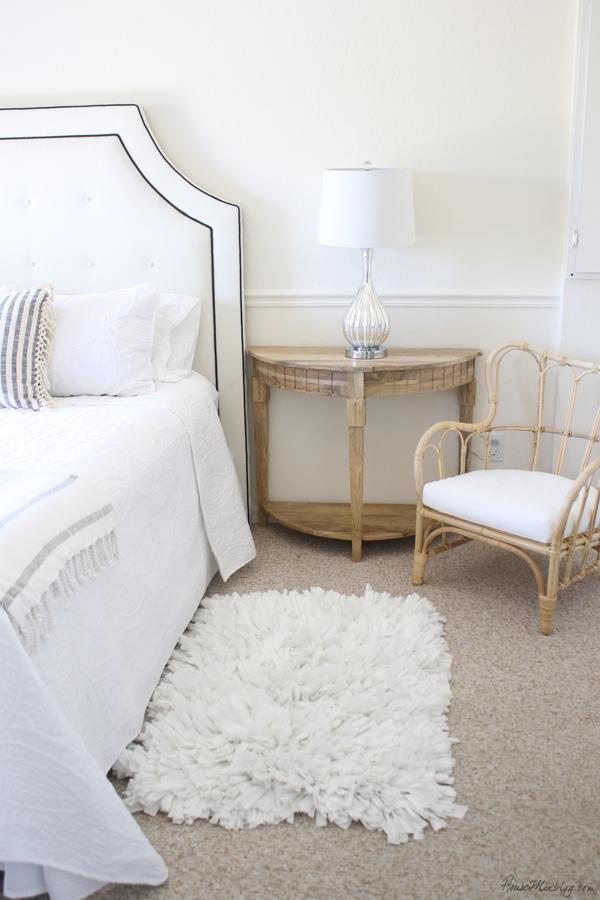 White gray and bleached wood bedroom