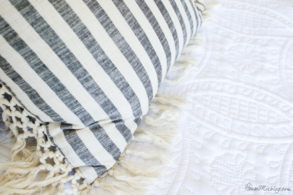 striped linen pillows