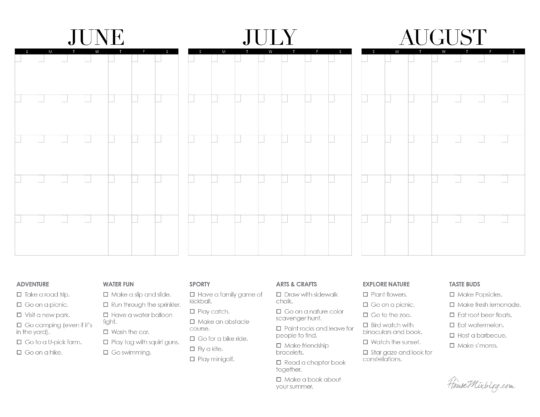 Printable 3 month summer calendar to plan summer break