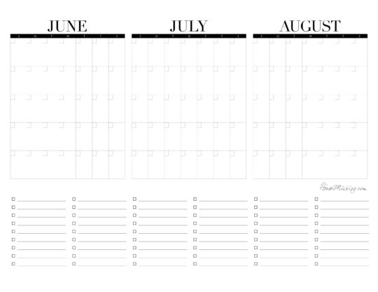 Printable 3 month summer calendar to plan summer break - blank