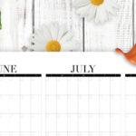 Summer calendar printable with bucketlist