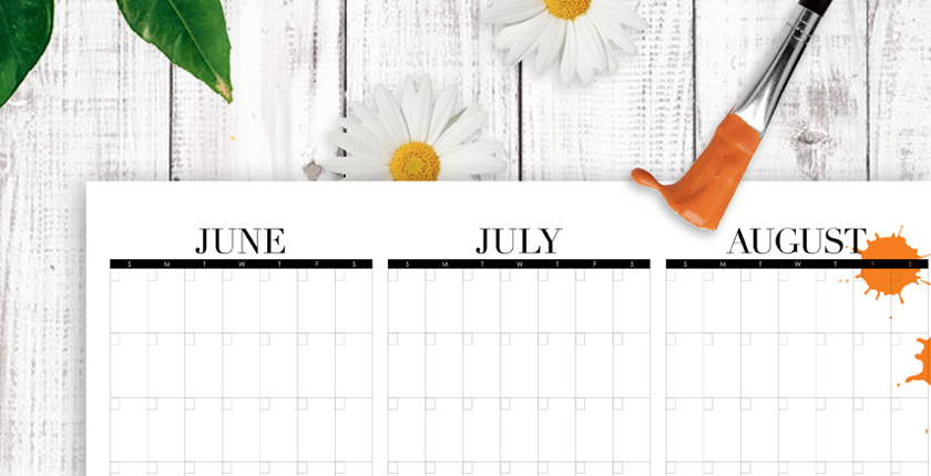 Summer planner calendar for three months and activity bucket list