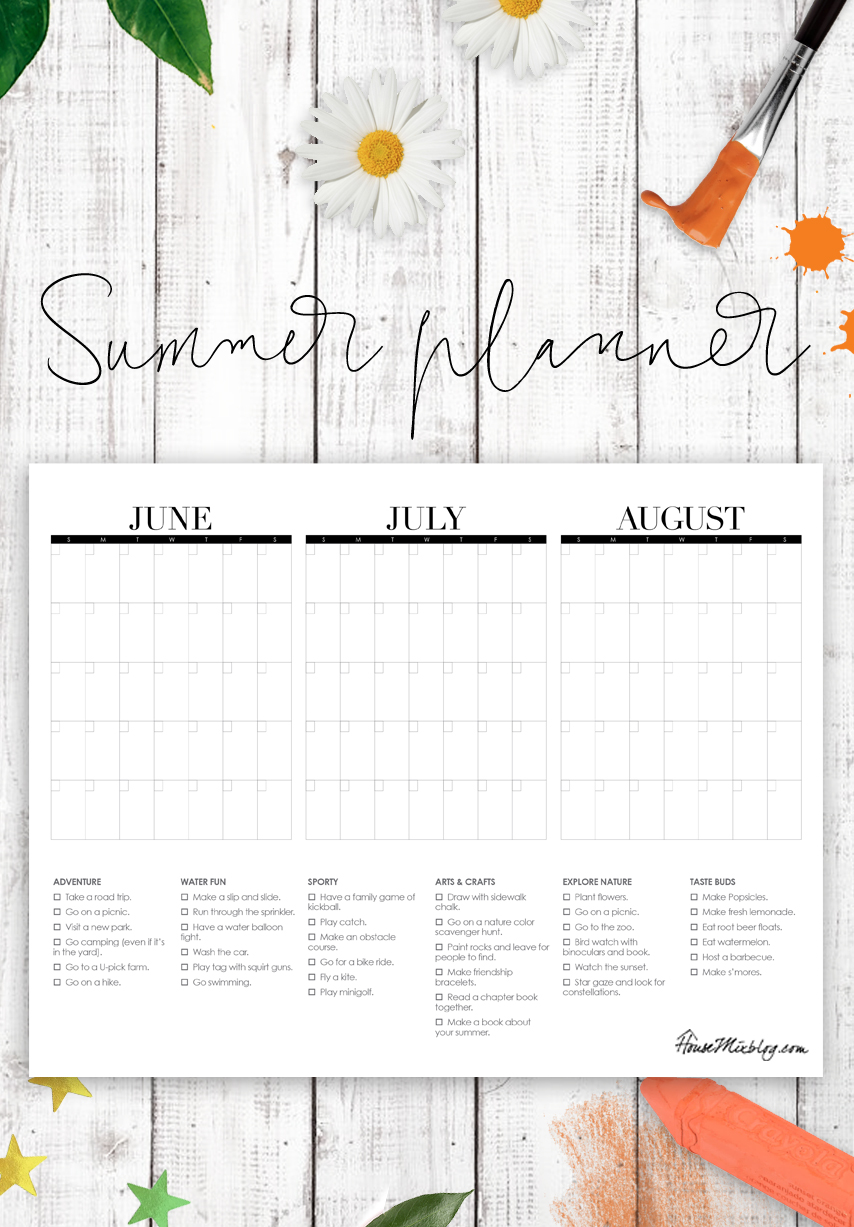 Summer planner for kids - three month summer calendar with summer bucket list