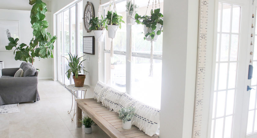 White and gray living room with hanging plants