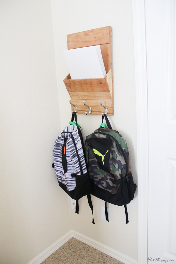After school routine - spot for backpacks and papers