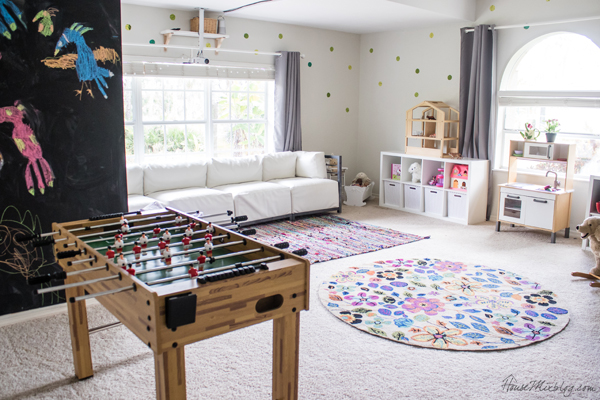 Big kid playroom - chalkboard walls, book wall, foosball table, movie projector and lots of shelves
