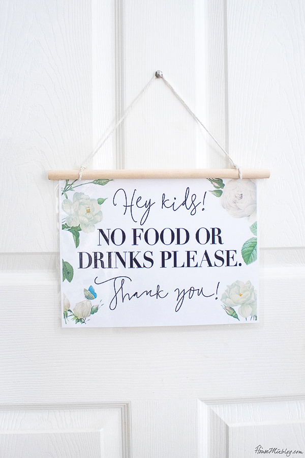 No food or drink sign - free printable - great for play room
