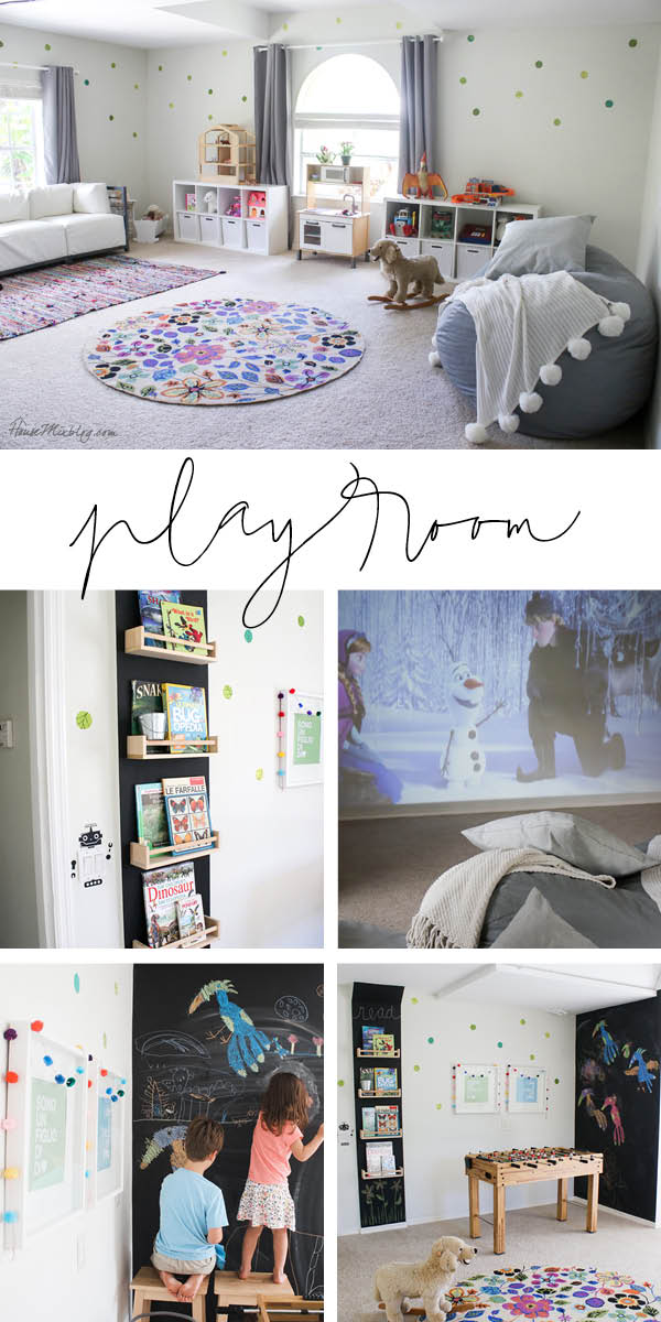 Playroom they can grow into - focus on activities instead of toys - foosball, movie projector, chalkboard wall, book wall