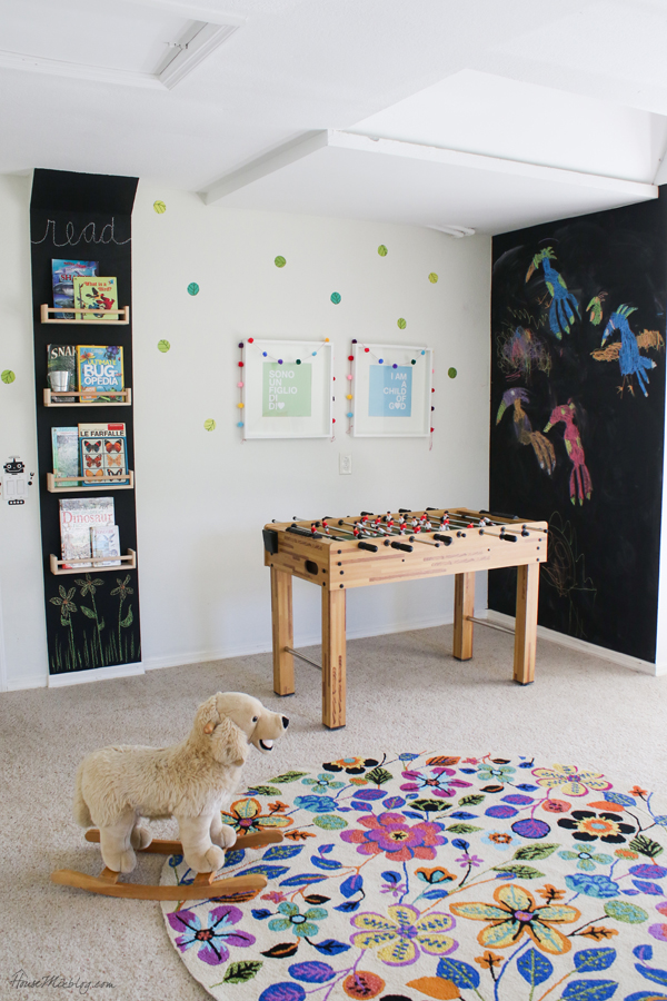 fun play room kids can grow into - playroom with chalkboard wall and foosball table and book wall and movie projector