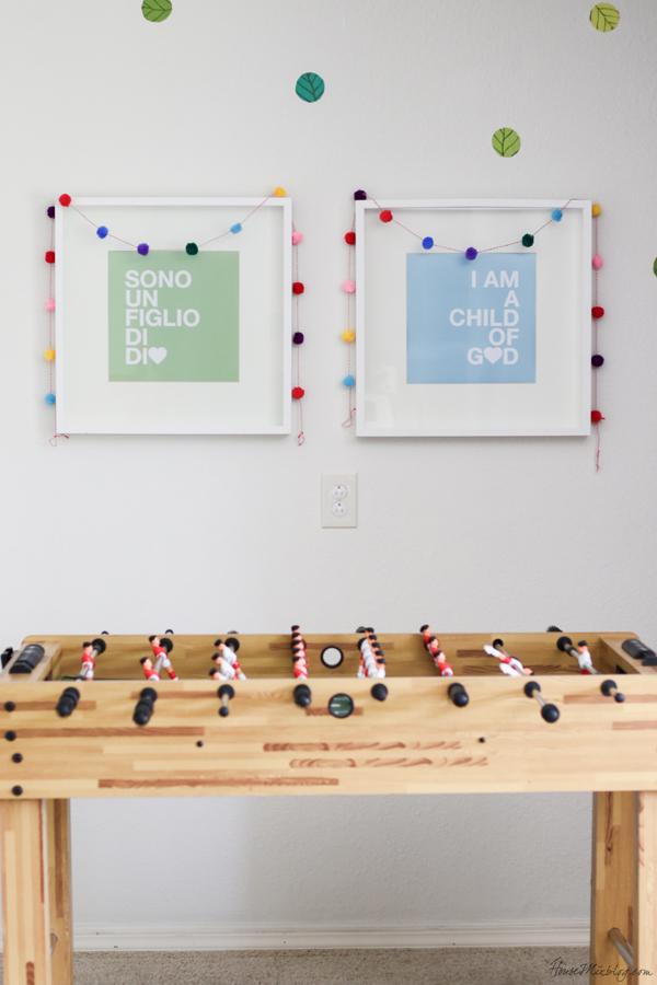 pops of color in kids playroom, foosball table