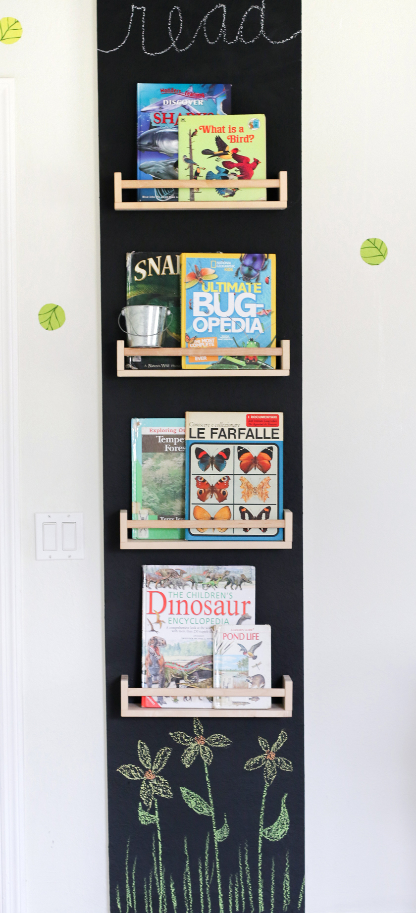 reading wall with cheap spice racks for books on a chalkboard background