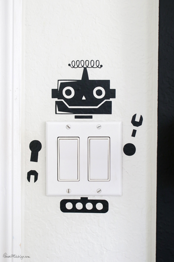 robot decal for light switch for a pop of fun in a playroom or kids room