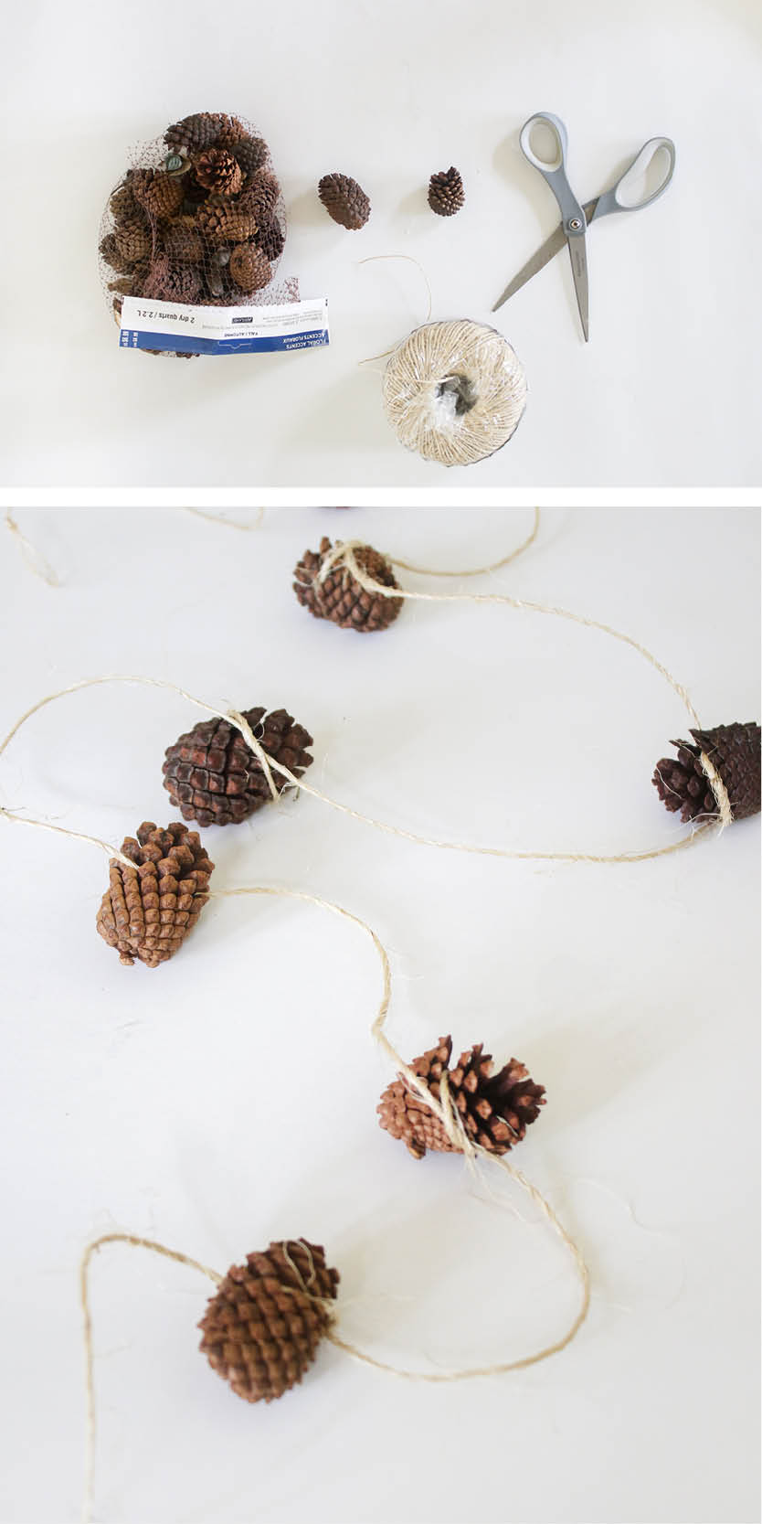 DIY acorn and twine garland
