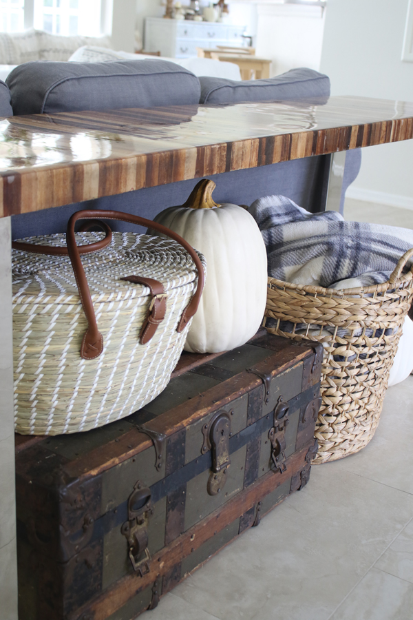 fall neutrals - white pumpkins, old trunk, plaid blanket, grays, whites, wood