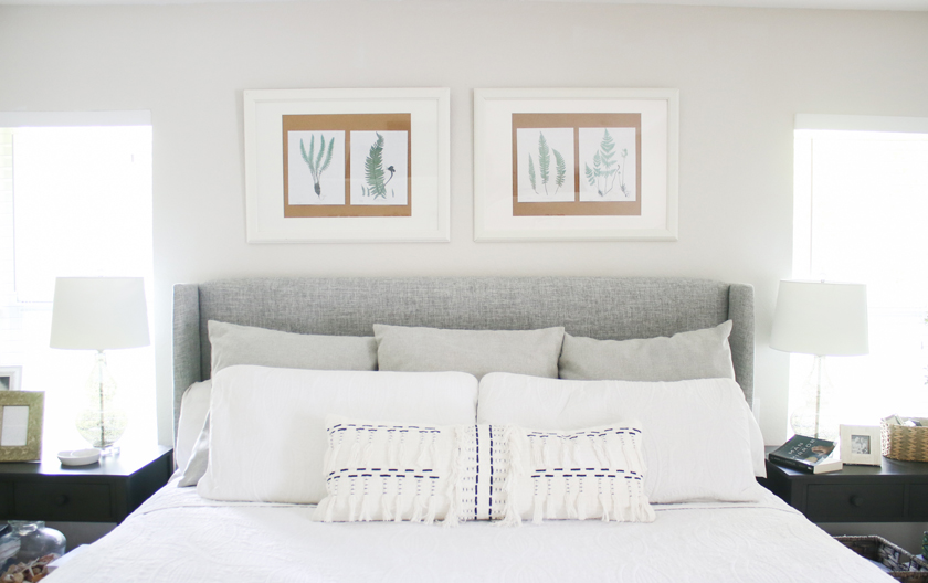 gray and white bedroom - cheap DIY art