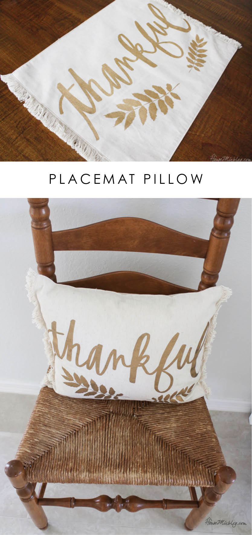 placemat pillow DIY - 5 dollars and 10 minutes
