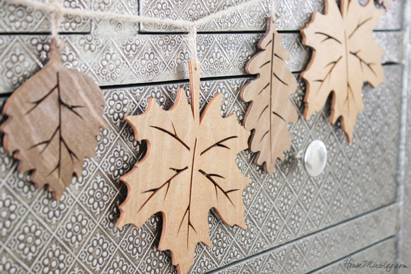 wood leaves garland
