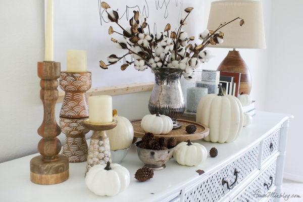 woods, browns and whites for fall decor