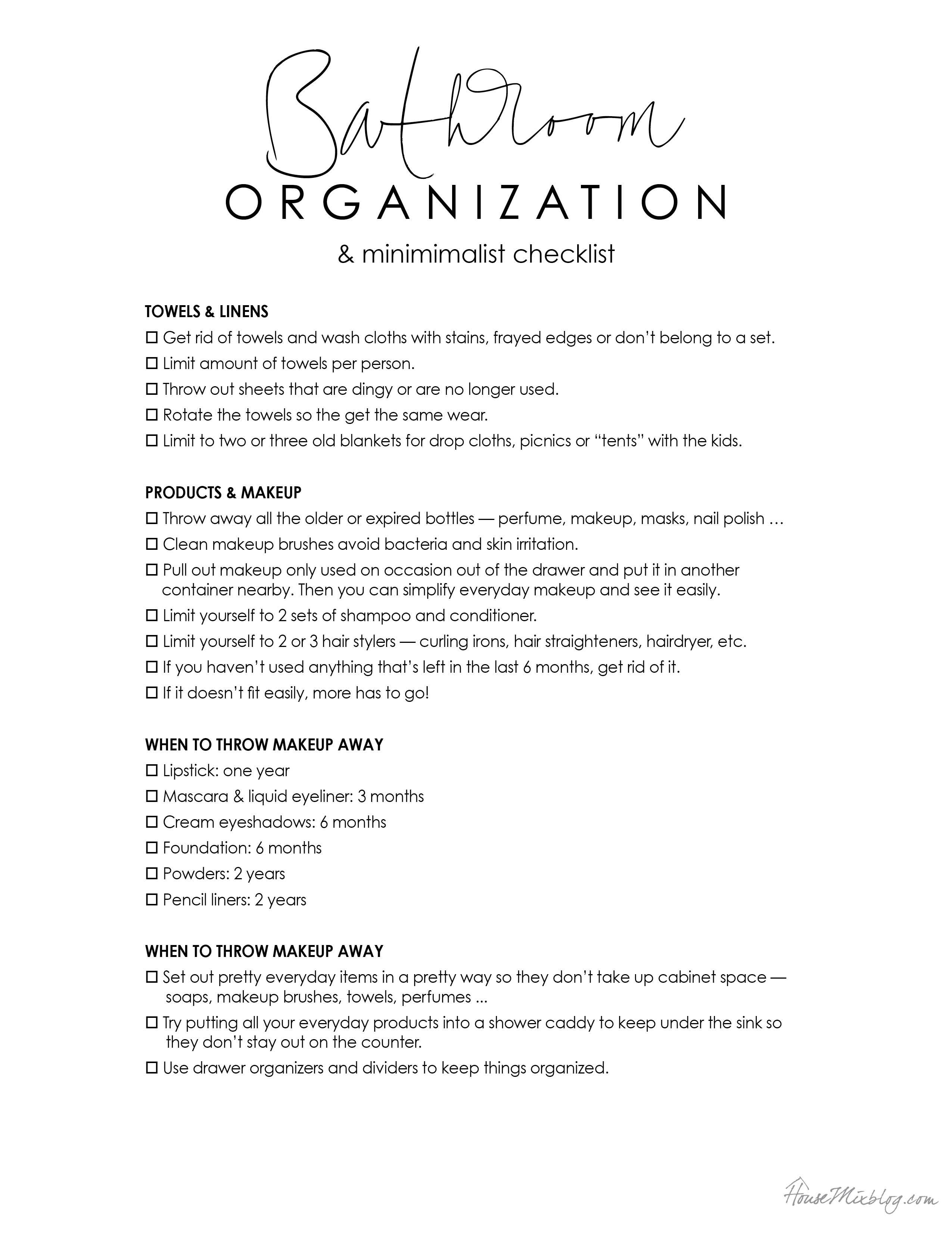 Bathroom organization and minimalist printable checklist