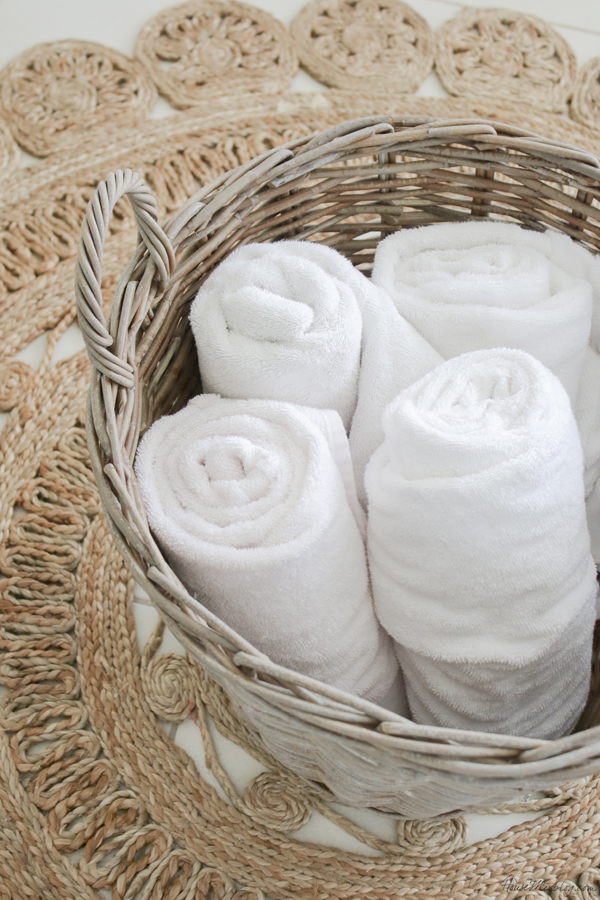 Bathroom organization ideas - keep towels in a large basket