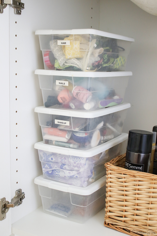 Bathroom organizing ideas - dollar store containers for extras