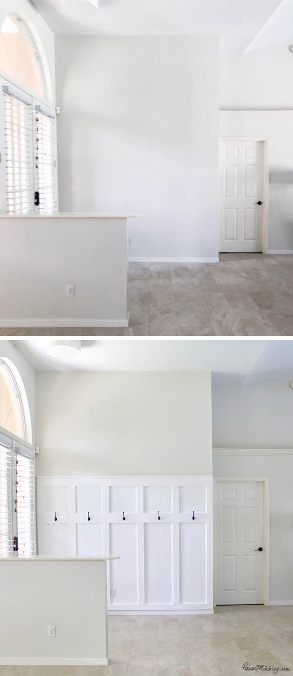 Board and batten wall DIY entryway before and after - moulding panels wainscotting board and batten moulding wall entryway mudroom diy tutorial