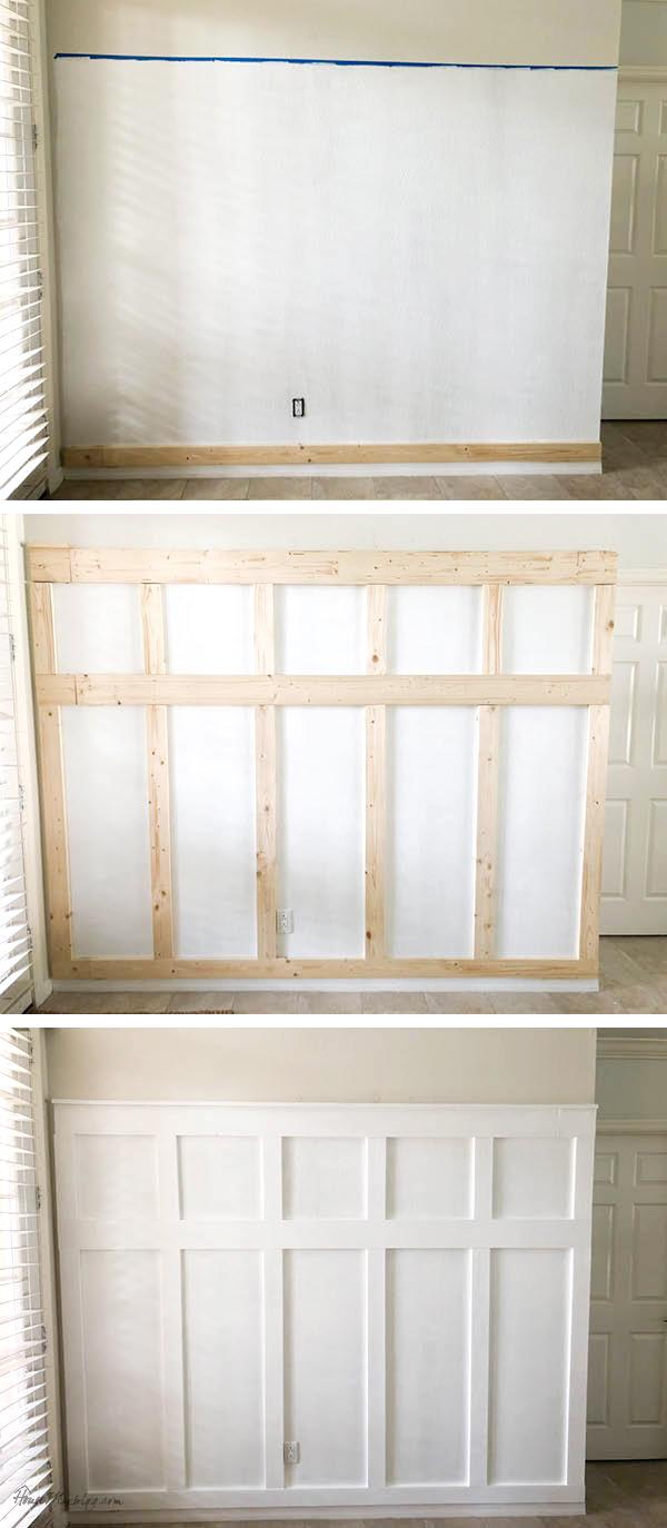 Board and batten wall DIY entryway