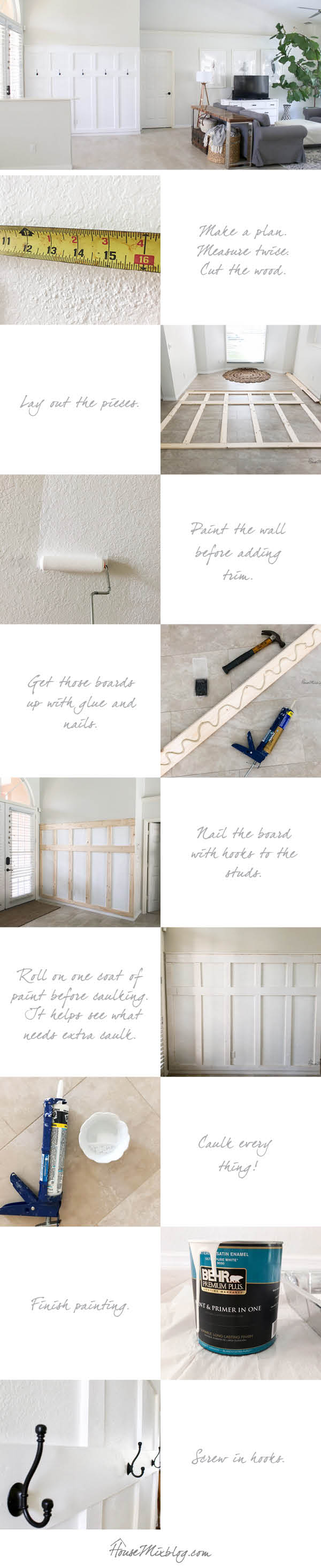 Board and batten wall DIY - moulding panels wainscotting board and batten moulding wall entryway mudroom diy tutorial how to