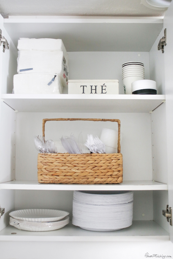 Hosting and party cabinet - all paper plates, napkins, utensils and cups all in one spot