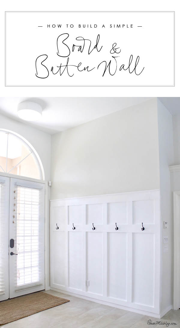 How to build a simple board and batten wall in entryway - moulding panels wainscotting board and batten moulding wall entryway mudroom diy tutorial