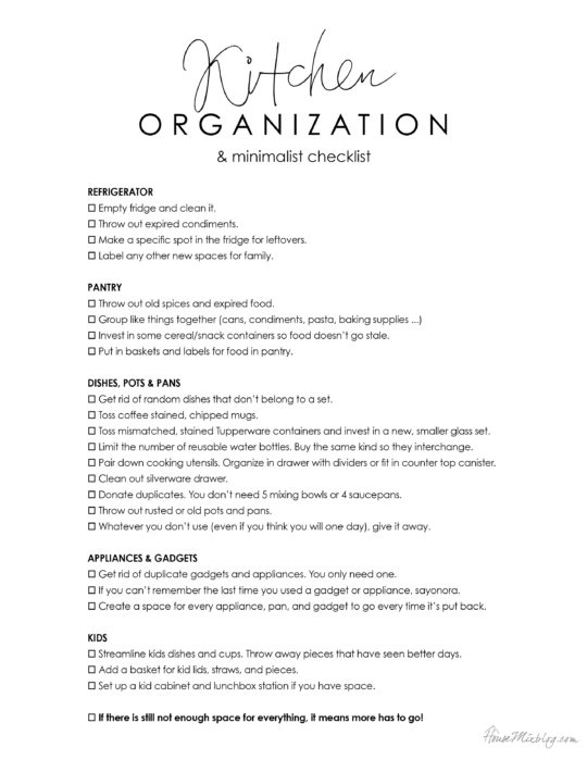 Kitchen organization and minimalist printable checklist