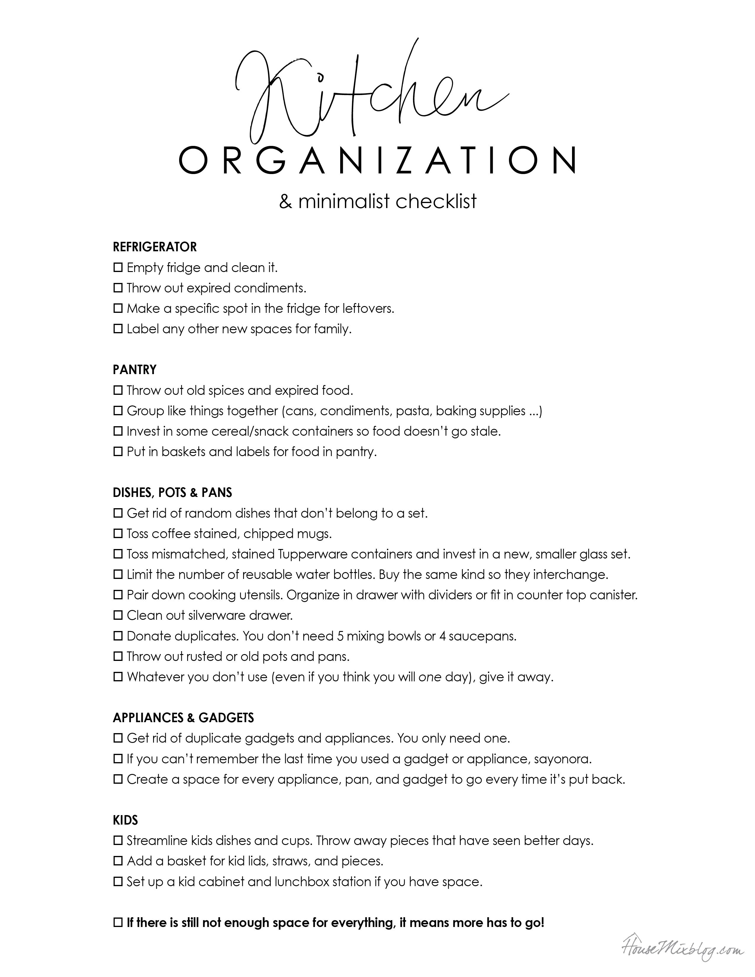 Kitchen organization and minimalist printable checklist