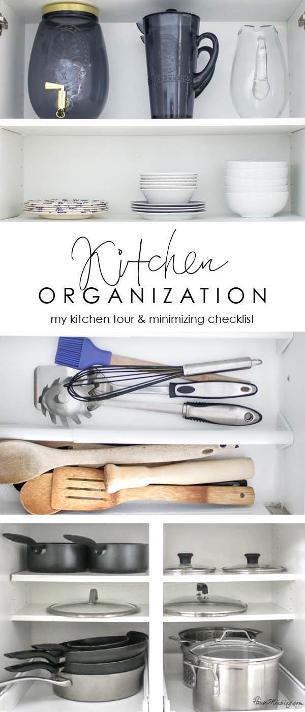 Kitchen organization ideas - my kitchen tour and minimizing checklist