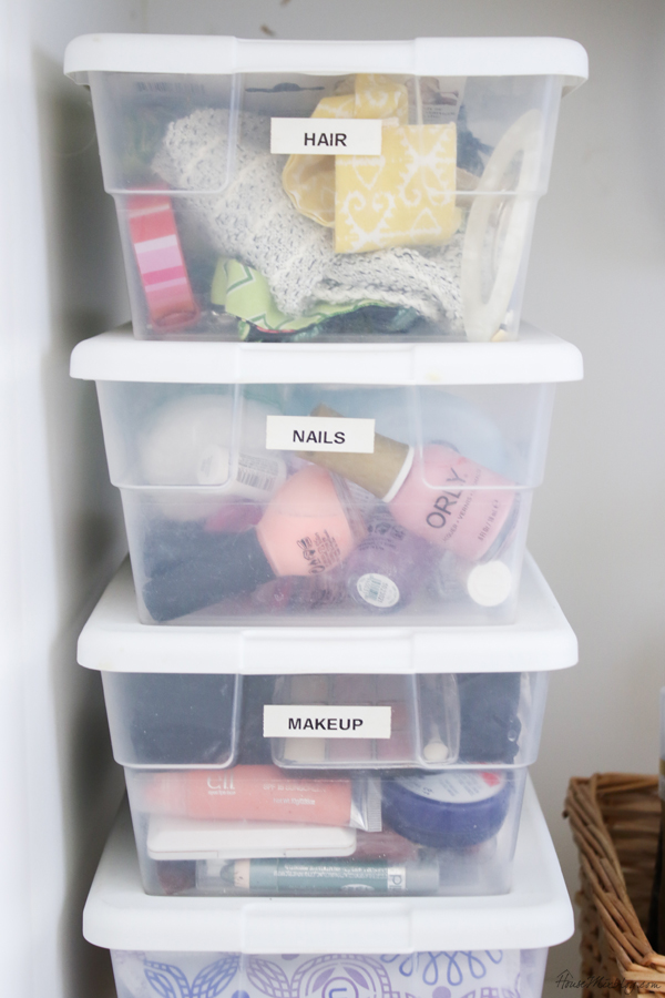 Minimalist bathroom organization and tips - dollar store bins