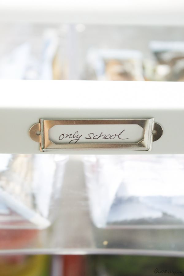 Silver metal labels used in fridge - label marking drawer for school lunches only
