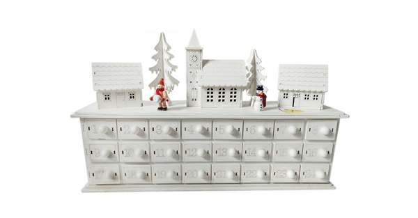 affordable white wooden Christmas advent calendar with doors