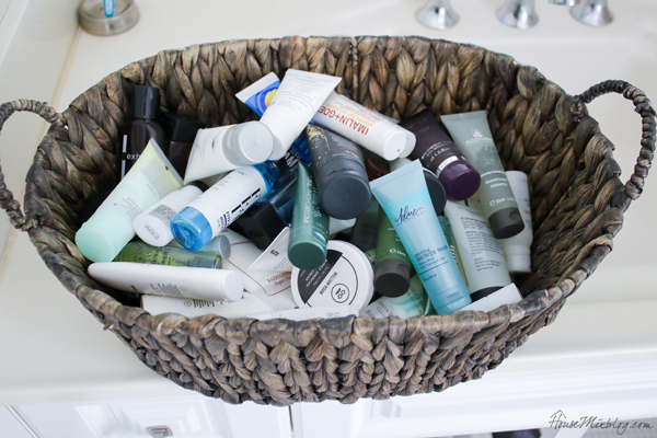 basket for travel size products from hotels