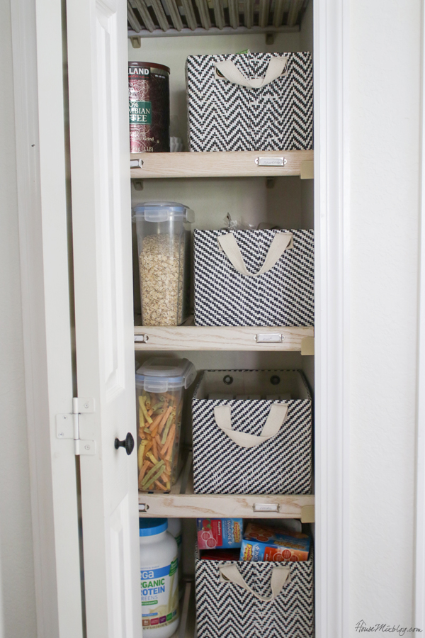 baskets and food containers for pantry organizing