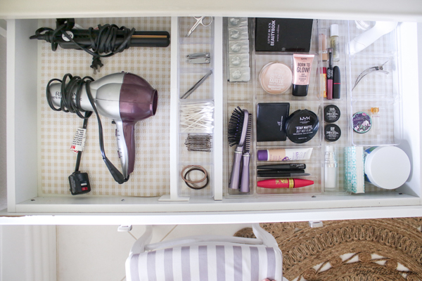bathroom drawer organization with dollar store trays