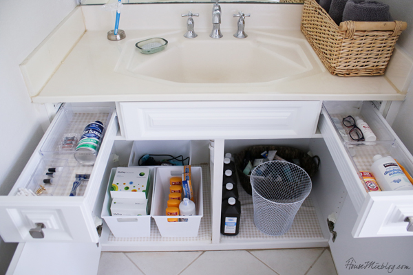 cheap bathroom organization - dollar store bins
