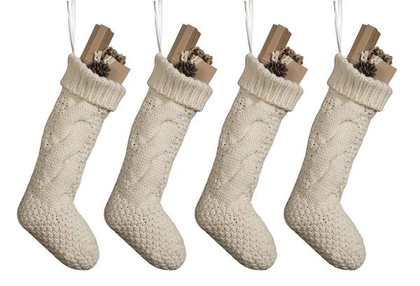cheap white knit stockings