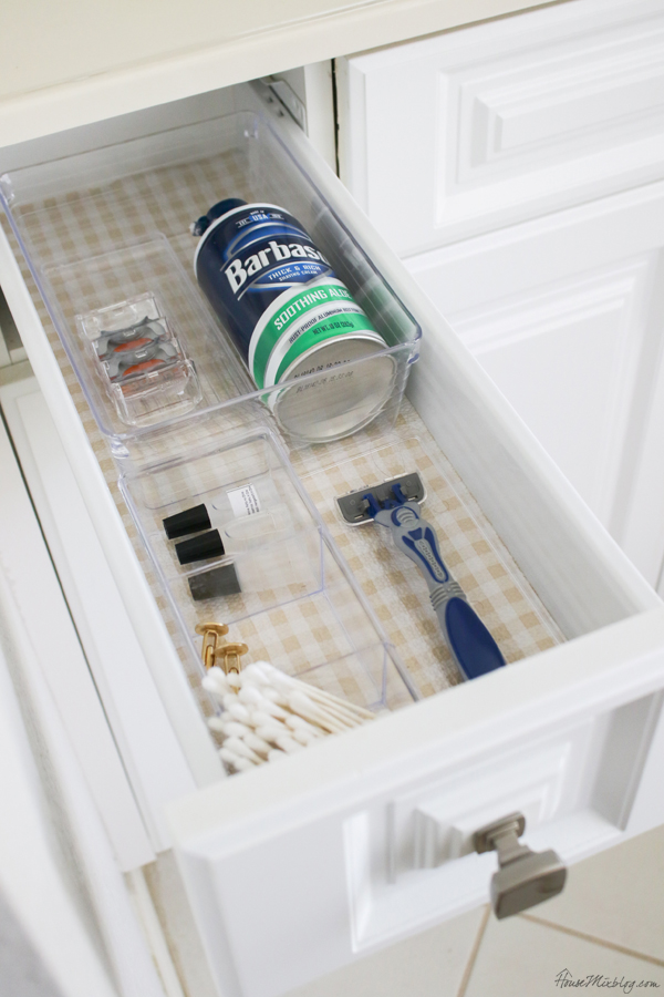 drawer organization with dollar store trays and containers