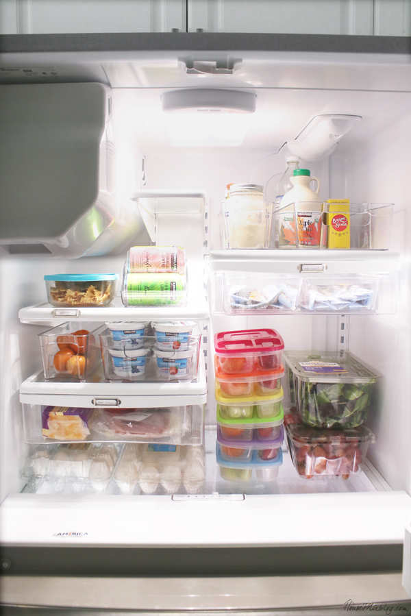 how to organize the fridge - bins, fruit, dividers, leftovers, school drawer, meat and cheese drawer