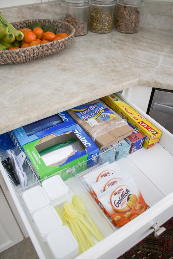 lunch packing station - kitchen organization ideas