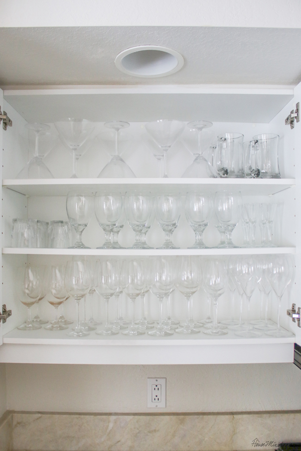 stemware cabinet organization