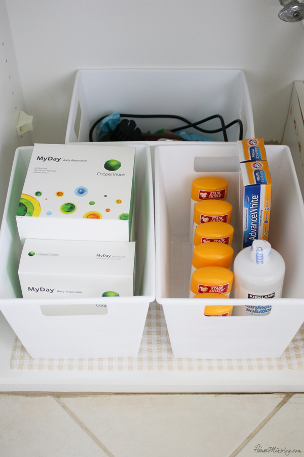 under the bathroom sink organization with dollar store trays and containers