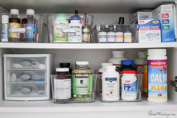 vitamin oils and medicine labels and organizing